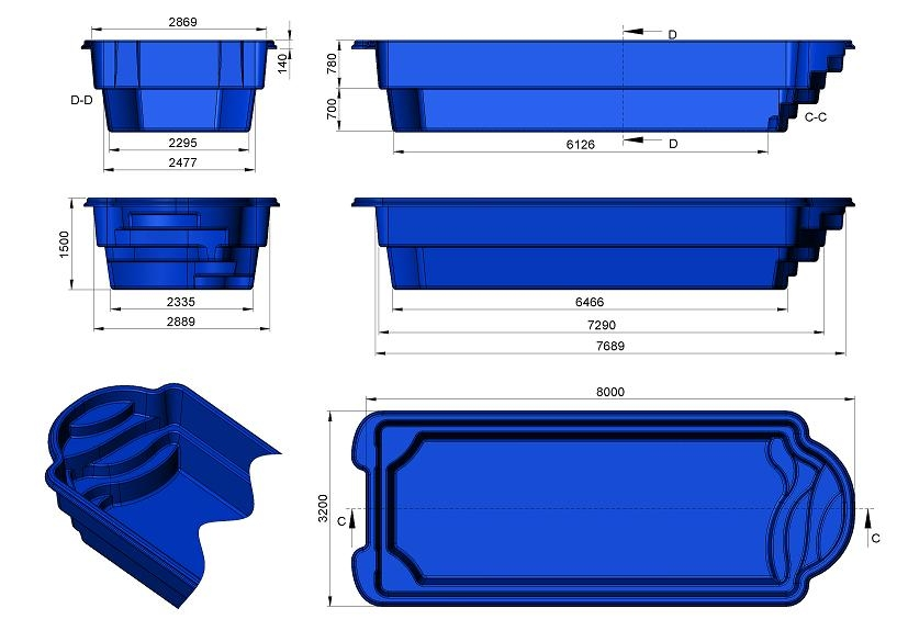 gfk schwimmbecken 3 20 x 8 00 m x 1 50 m tief lksshop de. Black Bedroom Furniture Sets. Home Design Ideas